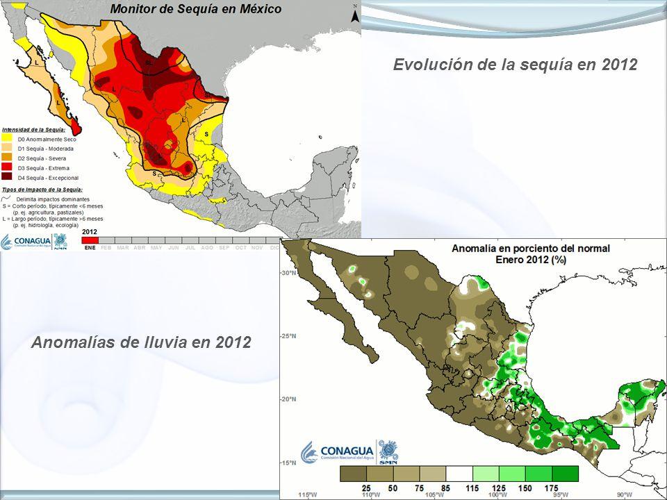 4 Evolución de la sequía en 2012 Anomalías de lluvia en 2012
