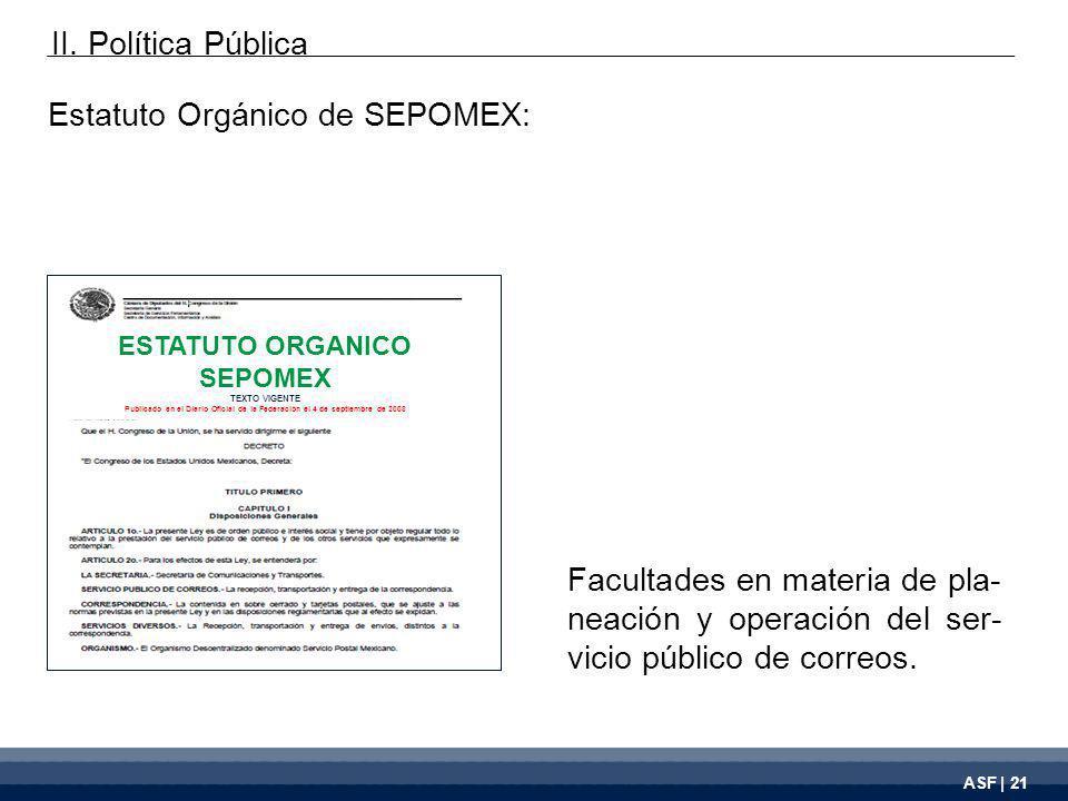 ASF | 21 Facultades en materia de pla- neación y operación del ser- vicio público de correos.