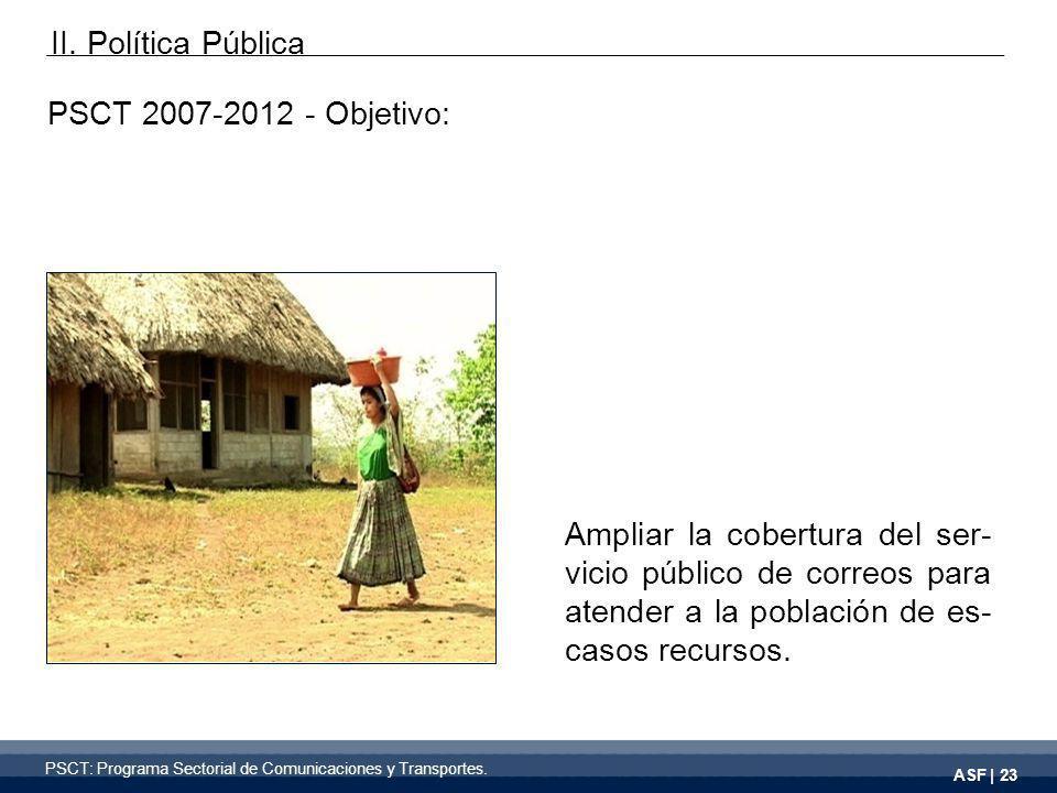 ASF | 23 PSCT 2007-2012 - Objetivo: Ampliar la cobertura del ser- vicio público de correos para atender a la población de es- casos recursos.