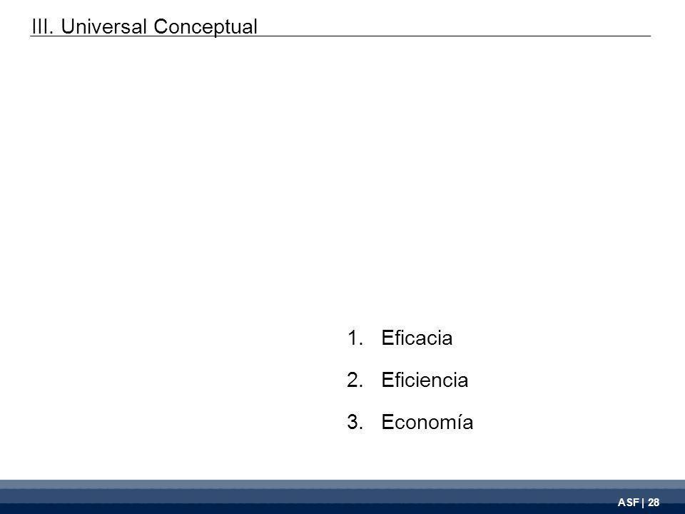 ASF | 28 1.Eficacia 2.Eficiencia 3.Economía III. Universal Conceptual