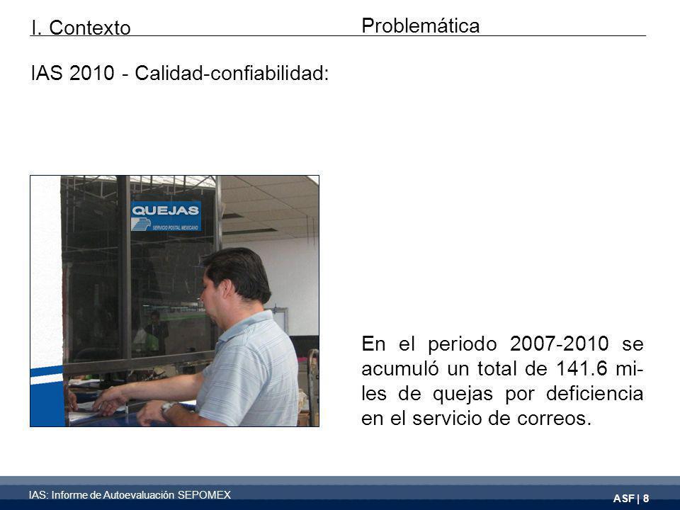 ASF | 8 En el periodo 2007-2010 se acumuló un total de 141.6 mi- les de quejas por deficiencia en el servicio de correos.
