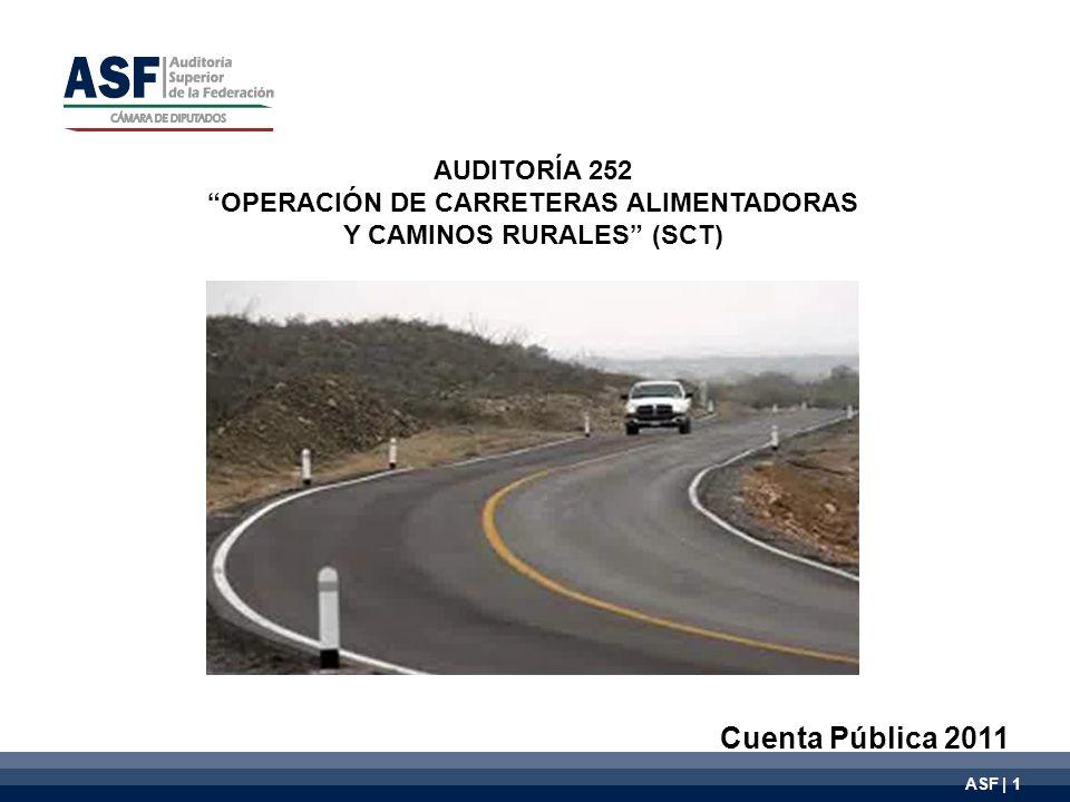 ASF | 1 AUDITORÍA 252 OPERACIÓN DE CARRETERAS ALIMENTADORAS Y CAMINOS RURALES (SCT) Cuenta Pública 2011