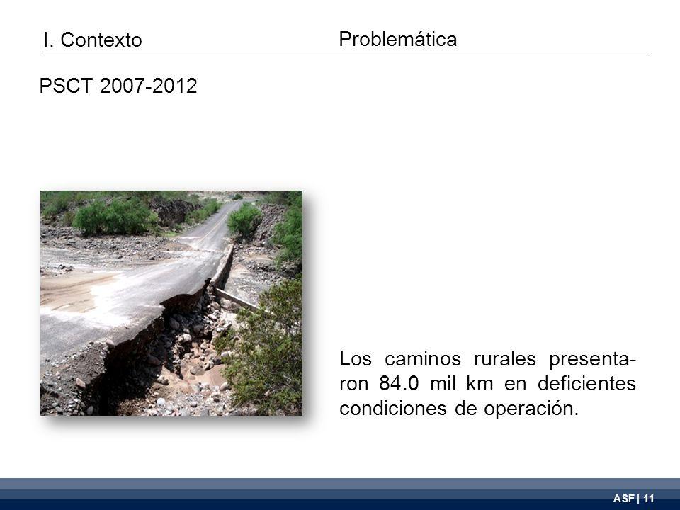 ASF | 11 Los caminos rurales presenta- ron 84.0 mil km en deficientes condiciones de operación.