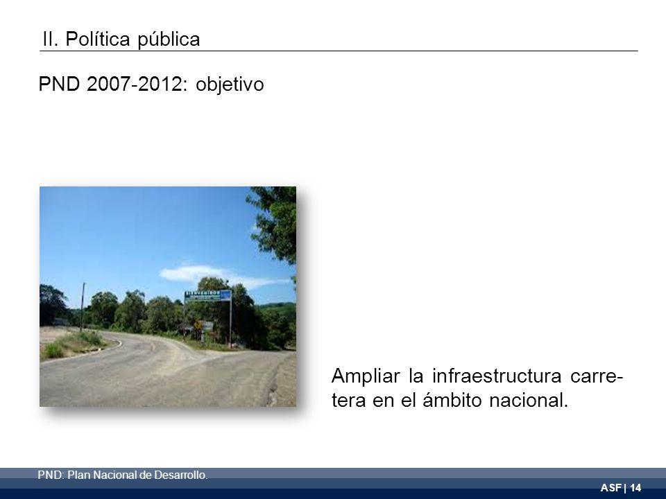 ASF | 14 Ampliar la infraestructura carre- tera en el ámbito nacional.