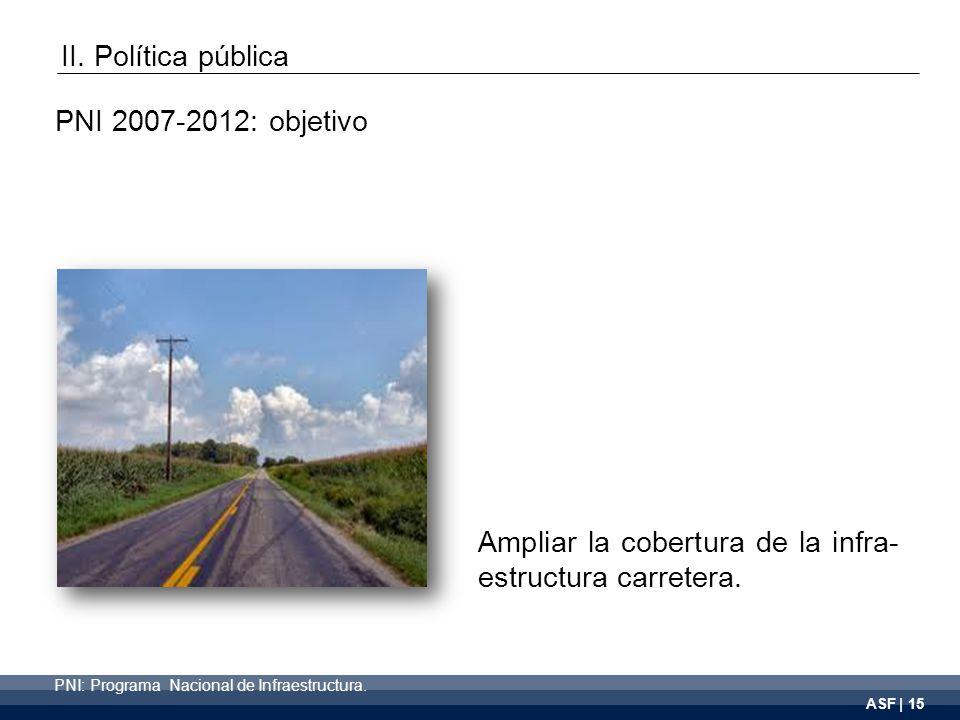 ASF | 15 Ampliar la cobertura de la infra- estructura carretera.