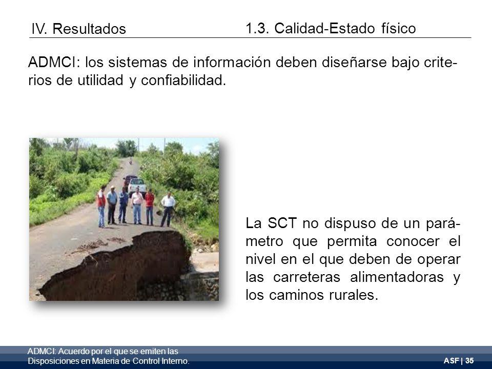 ASF | 35 La SCT no dispuso de un pará- metro que permita conocer el nivel en el que deben de operar las carreteras alimentadoras y los caminos rurales.