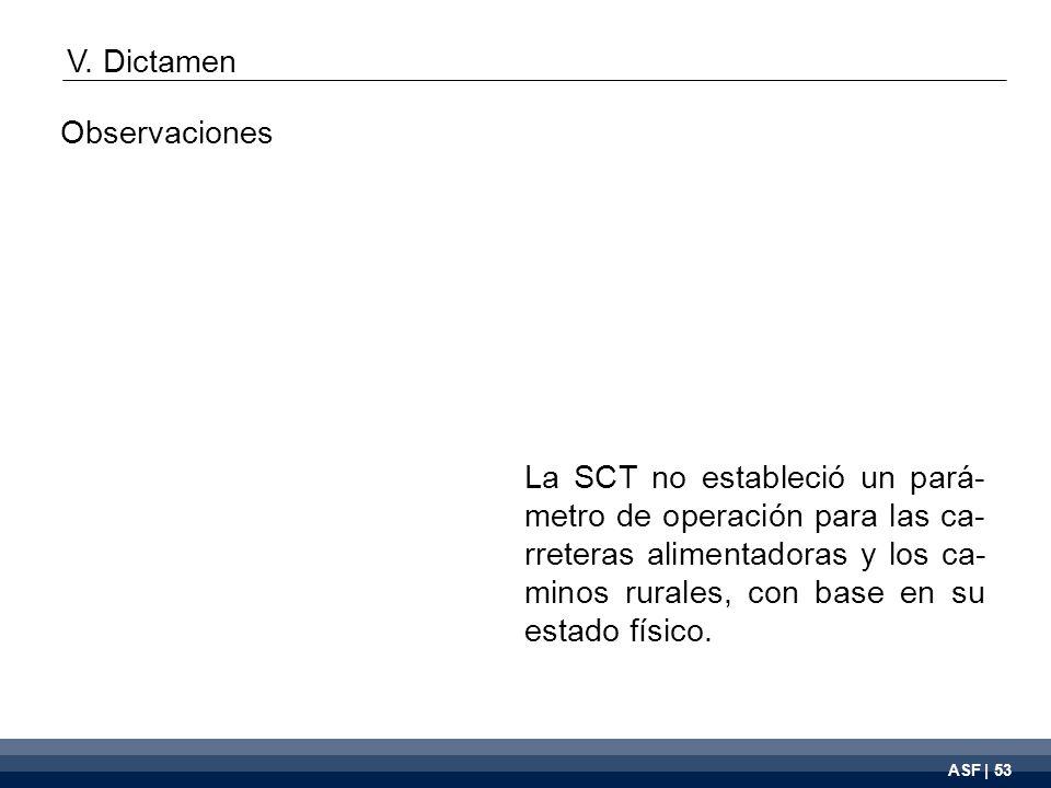 ASF | 53 La SCT no estableció un pará- metro de operación para las ca- rreteras alimentadoras y los ca- minos rurales, con base en su estado físico.