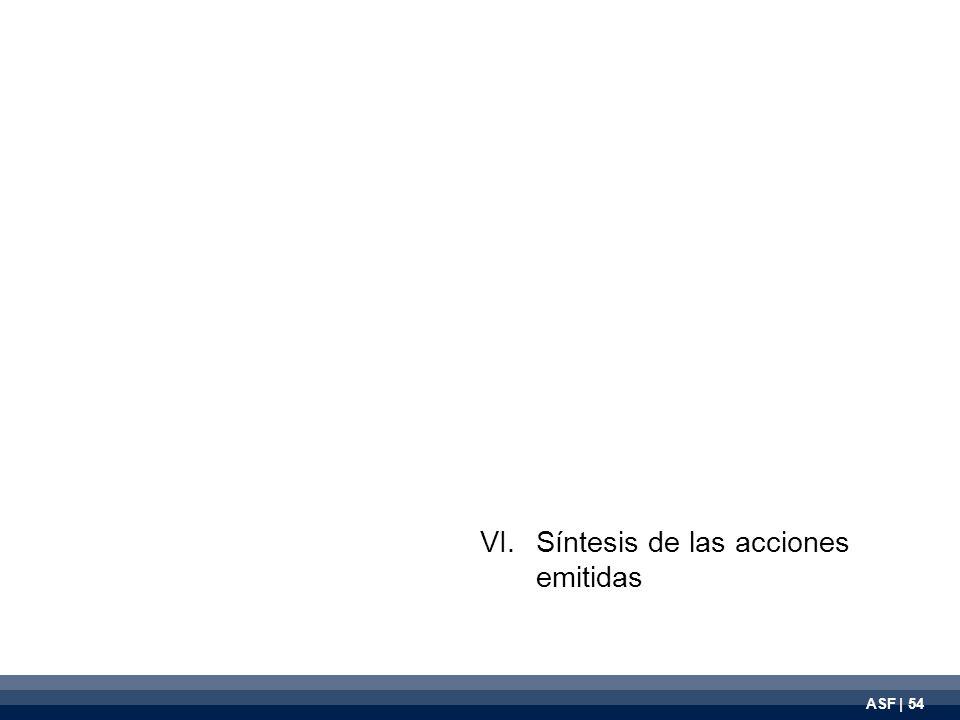 ASF | 54 VI.Síntesis de las acciones emitidas