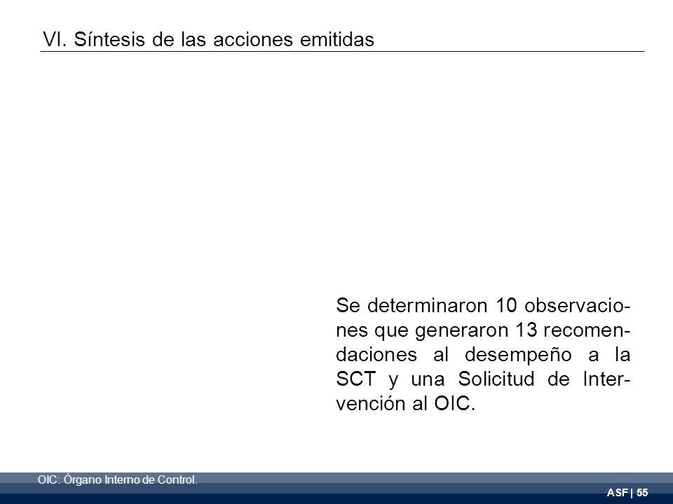 ASF | 55 Se determinaron 10 observacio- nes que generaron 13 recomen- daciones al desempeño a la SCT y una Solicitud de Inter- vención al OIC.