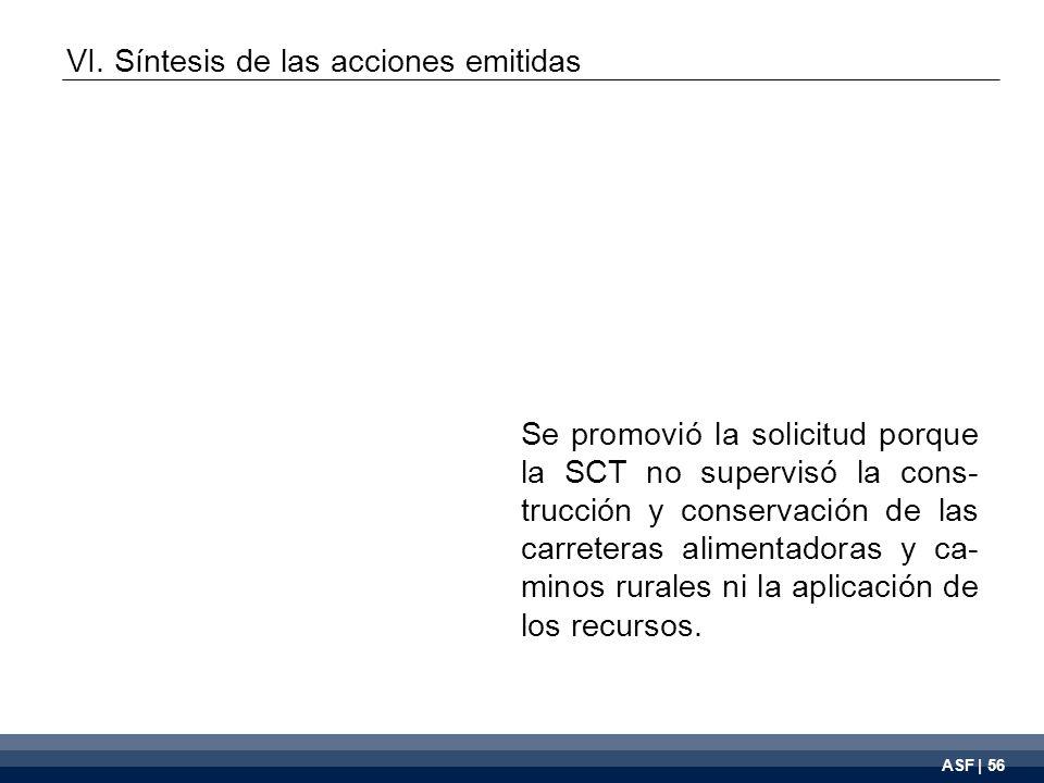 ASF | 56 Se promovió la solicitud porque la SCT no supervisó la cons- trucción y conservación de las carreteras alimentadoras y ca- minos rurales ni la aplicación de los recursos.