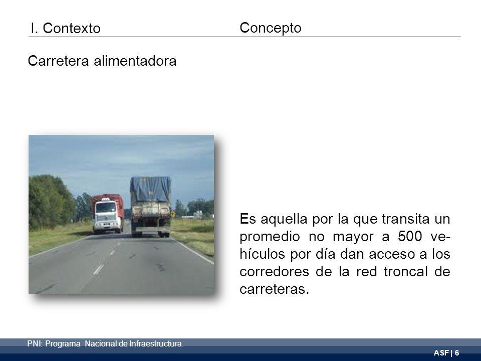 ASF | 6 Es aquella por la que transita un promedio no mayor a 500 ve- hículos por día dan acceso a los corredores de la red troncal de carreteras.