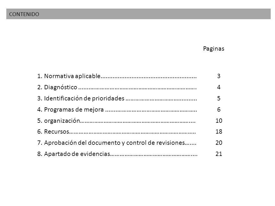 CONTENIDO Paginas 1. Normativa aplicable........................................................3 2. Diagnóstico.......………………………………………………………….4 3. Ide