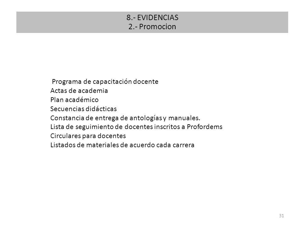 31 Programa de capacitación docente Actas de academia Plan académico Secuencias didácticas Constancia de entrega de antologías y manuales. Lista de se