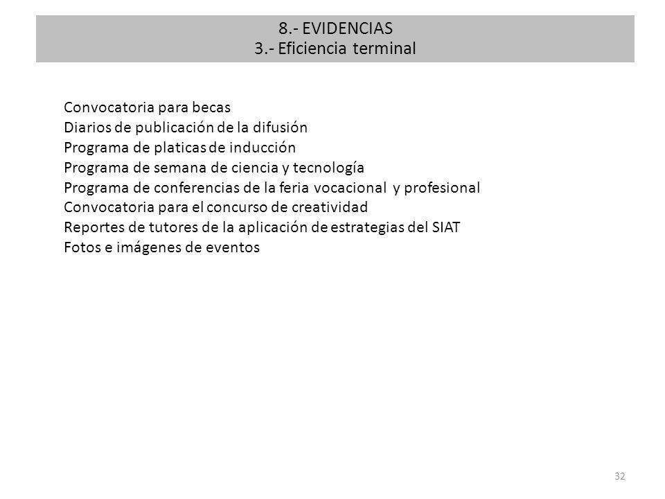 32 8.- EVIDENCIAS 3.- Eficiencia terminal Convocatoria para becas Diarios de publicación de la difusión Programa de platicas de inducción Programa de