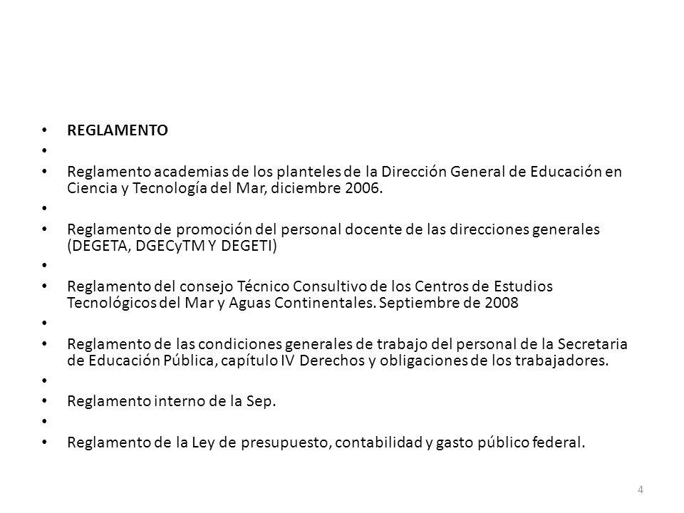 REGLAMENTO Reglamento academias de los planteles de la Dirección General de Educación en Ciencia y Tecnología del Mar, diciembre 2006. Reglamento de p