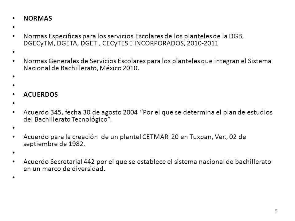 NORMAS Normas Especificas para los servicios Escolares de los planteles de la DGB, DGECyTM, DGETA, DGETI, CECyTES E INCORPORADOS, 2010-2011 Normas Gen
