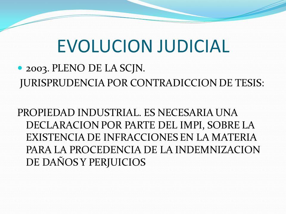 EVOLUCION JUDICIAL 2003. PLENO DE LA SCJN. JURISPRUDENCIA POR CONTRADICCION DE TESIS: PROPIEDAD INDUSTRIAL. ES NECESARIA UNA DECLARACION POR PARTE DEL