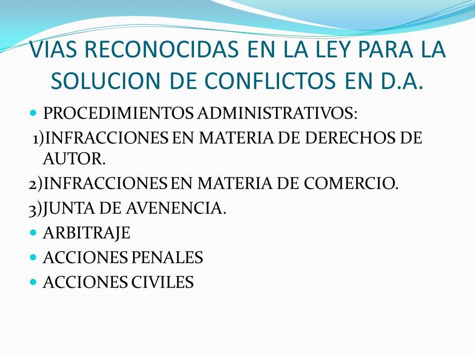 VIAS RECONOCIDAS EN LA LEY PARA LA SOLUCION DE CONFLICTOS EN D.A. PROCEDIMIENTOS ADMINISTRATIVOS: 1)INFRACCIONES EN MATERIA DE DERECHOS DE AUTOR. 2)IN
