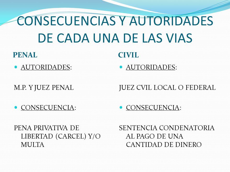 CONSECUENCIAS Y AUTORIDADES DE CADA UNA DE LAS VIAS PENAL CIVIL AUTORIDADES: M.P. Y JUEZ PENAL CONSECUENCIA: PENA PRIVATIVA DE LIBERTAD (CARCEL) Y/O M
