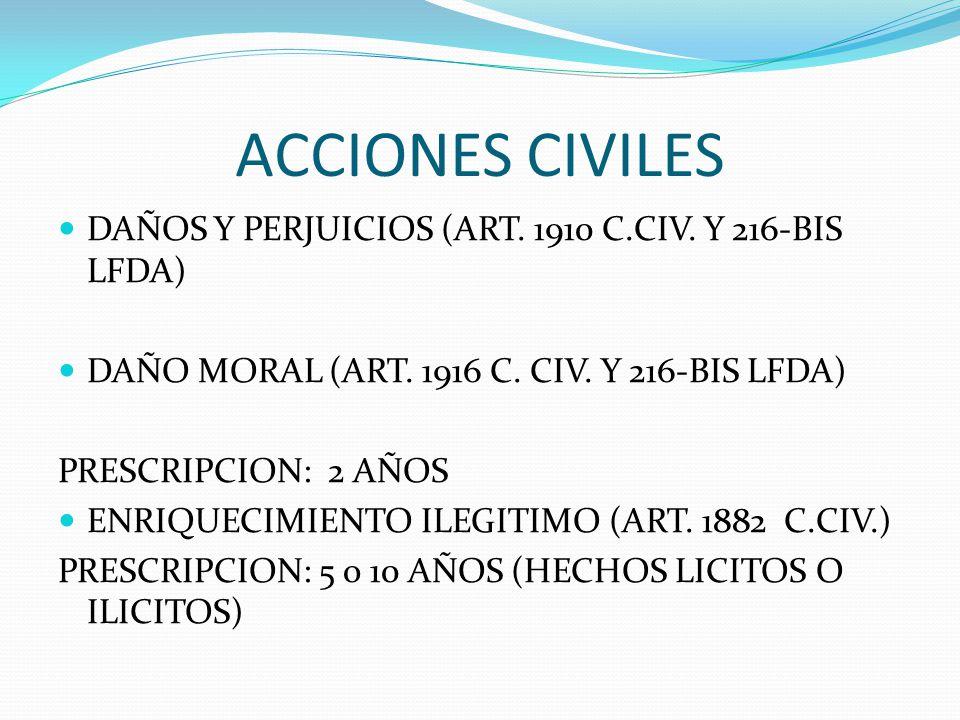 ACCIONES CIVILES DAÑOS Y PERJUICIOS (ART. 1910 C.CIV. Y 216-BIS LFDA) DAÑO MORAL (ART. 1916 C. CIV. Y 216-BIS LFDA) PRESCRIPCION: 2 AÑOS ENRIQUECIMIEN