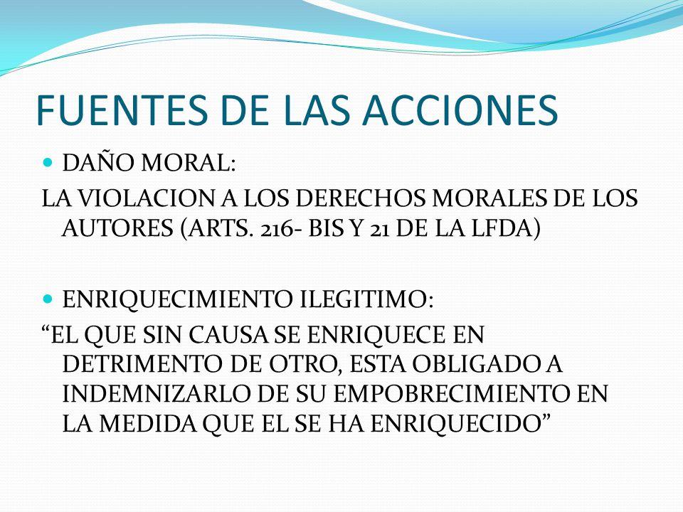FUENTES DE LAS ACCIONES DAÑO MORAL: LA VIOLACION A LOS DERECHOS MORALES DE LOS AUTORES (ARTS. 216- BIS Y 21 DE LA LFDA) ENRIQUECIMIENTO ILEGITIMO: EL