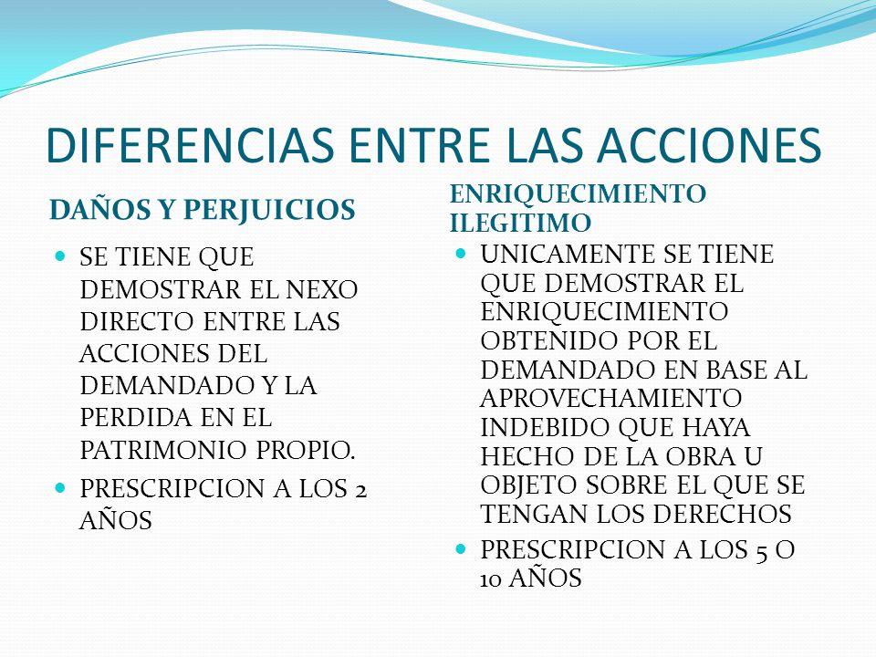 DIFERENCIAS ENTRE LAS ACCIONES DAÑOS Y PERJUICIOS ENRIQUECIMIENTO ILEGITIMO LA CONDENA SERIA UNICAMENTE AL PAGO SOBRE LAS PERDIDAS Y POSIBLES GANANCIAS DE INTERESES QUE LA PARTE ACTORA HUBIERA SUFRIDO.