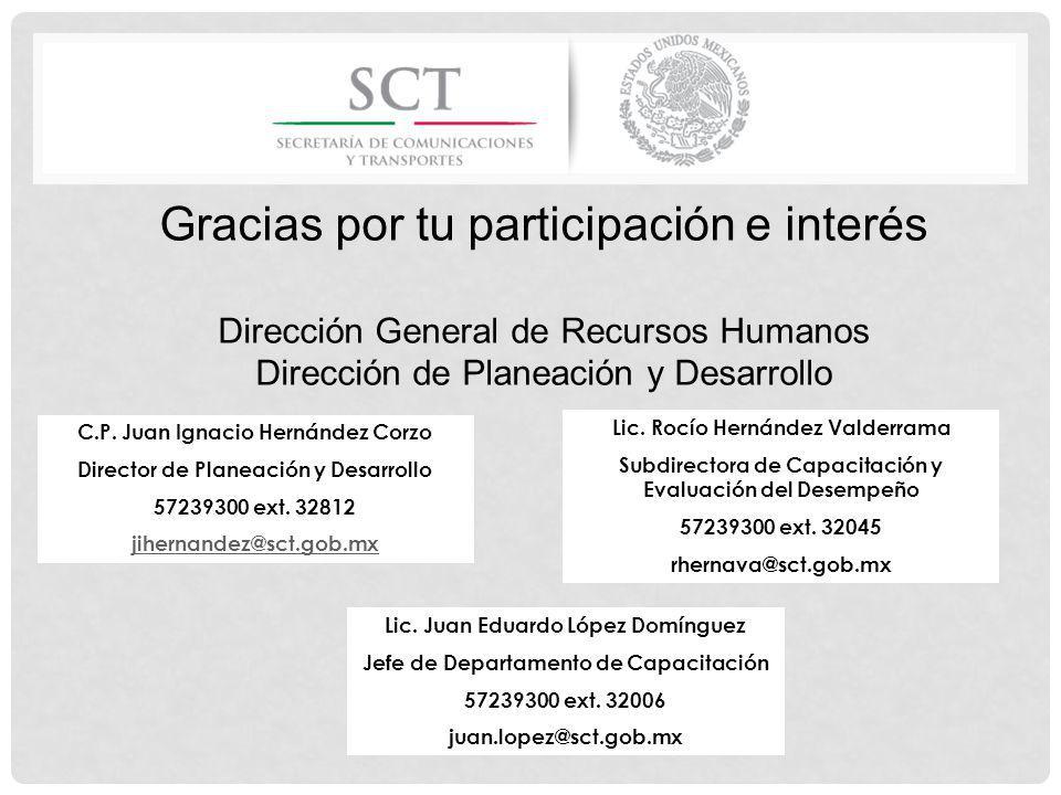 Gracias por tu participación e interés Dirección General de Recursos Humanos Dirección de Planeación y Desarrollo Lic. Rocío Hernández Valderrama Subd