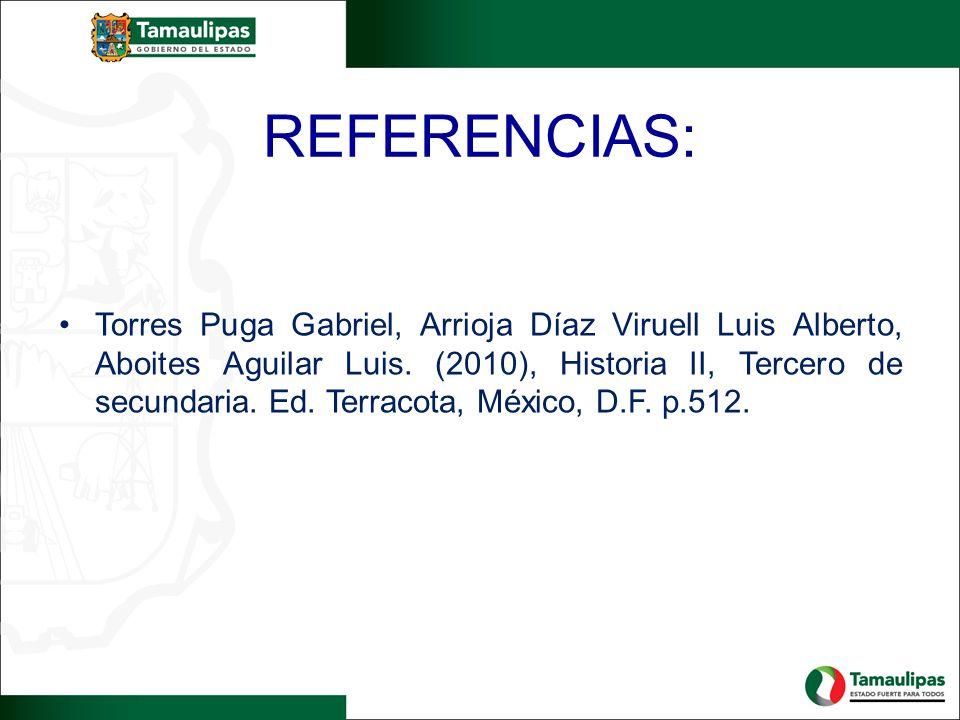 REFERENCIAS: Torres Puga Gabriel, Arrioja Díaz Viruell Luis Alberto, Aboites Aguilar Luis.