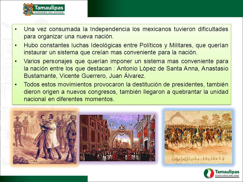 Una vez consumada la Independencia los mexicanos tuvieron dificultades para organizar una nueva nación.