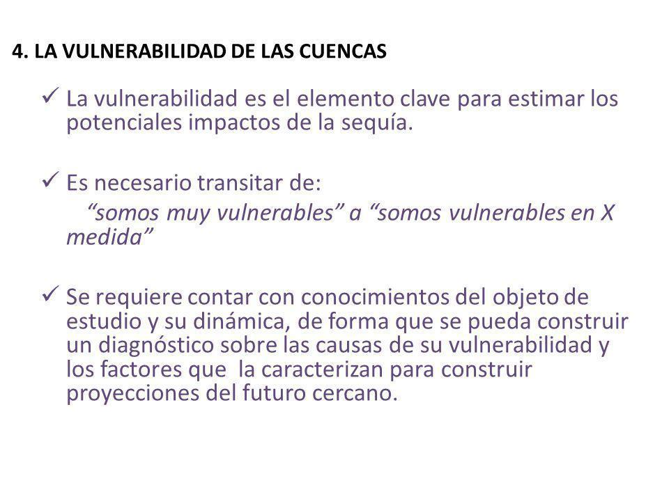4. LA VULNERABILIDAD DE LAS CUENCAS La vulnerabilidad es el elemento clave para estimar los potenciales impactos de la sequía. Es necesario transitar