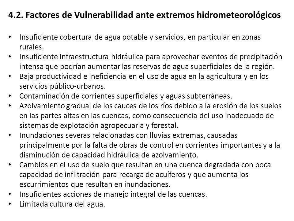 4.2. Factores de Vulnerabilidad ante extremos hidrometeorológicos Insuficiente cobertura de agua potable y servicios, en particular en zonas rurales.