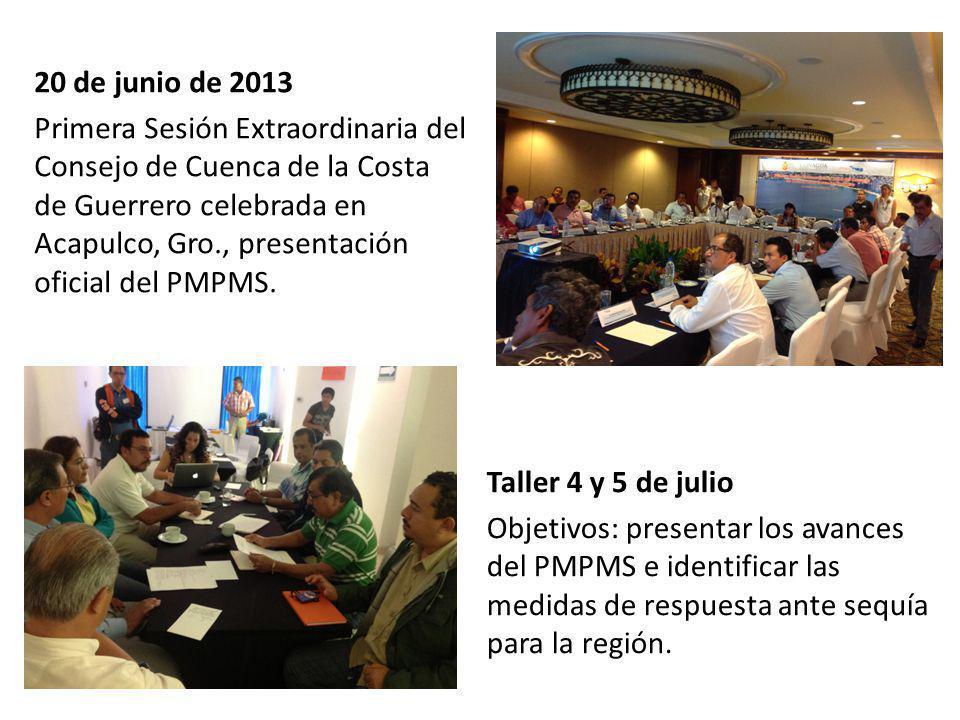 20 de junio de 2013 Primera Sesión Extraordinaria del Consejo de Cuenca de la Costa de Guerrero celebrada en Acapulco, Gro., presentación oficial del PMPMS.