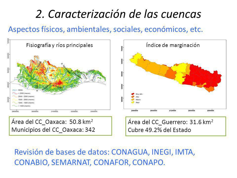 2. Caracterización de las cuencas Área del CC_Oaxaca: 50.8 km 2 Municipios del CC_Oaxaca: 342 Revisión de bases de datos: CONAGUA, INEGI, IMTA, CONABI