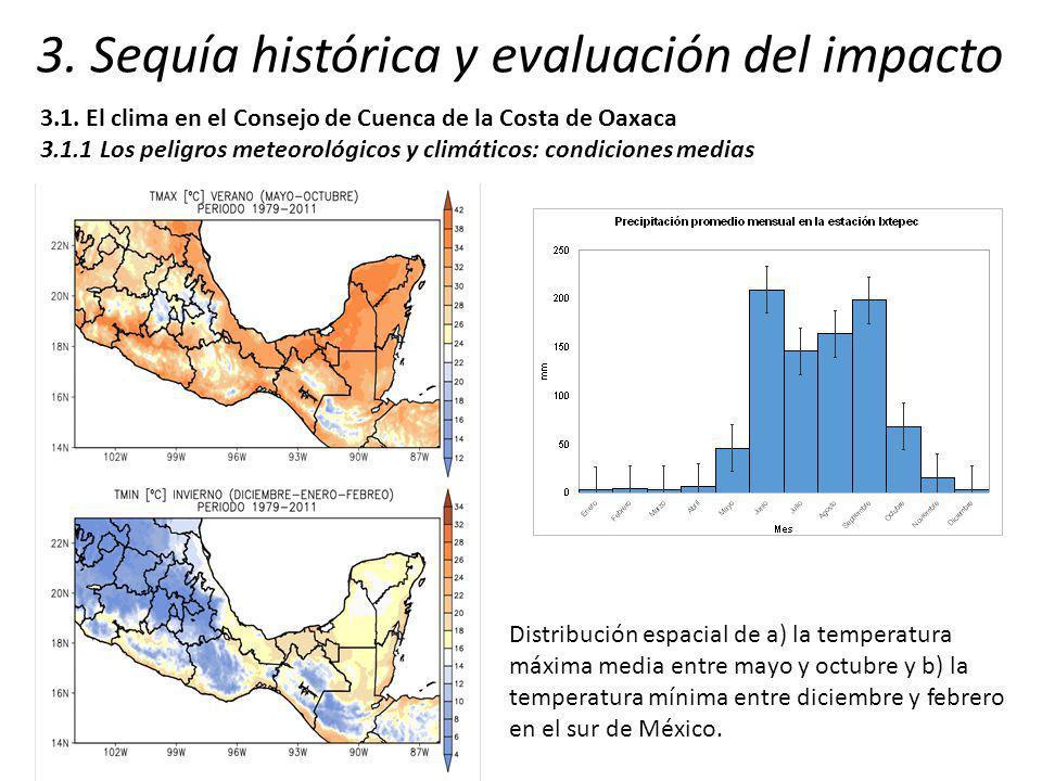 3. Sequía histórica y evaluación del impacto 3.1. El clima en el Consejo de Cuenca de la Costa de Oaxaca 3.1.1 Los peligros meteorológicos y climático