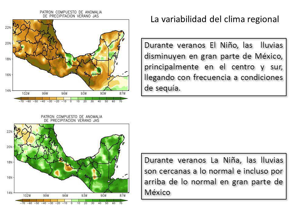 Durante veranos El Niño, las lluvias disminuyen en gran parte de México, principalmente en el centro y sur, llegando con frecuencia a condiciones de sequía.