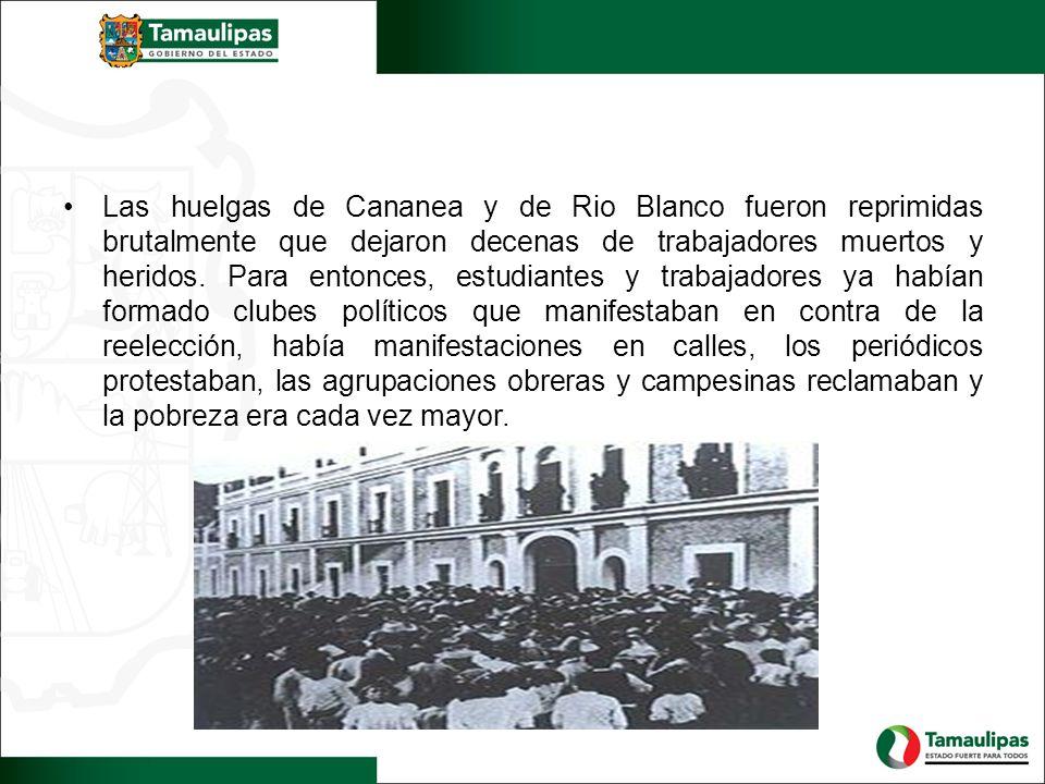 Las huelgas de Cananea y de Rio Blanco fueron reprimidas brutalmente que dejaron decenas de trabajadores muertos y heridos. Para entonces, estudiantes