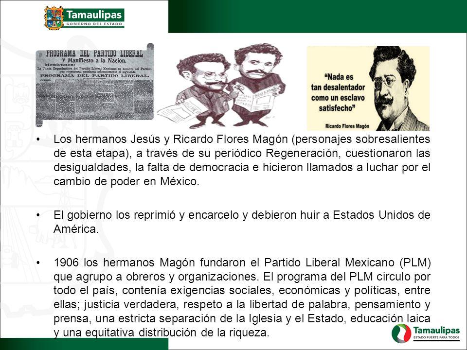 Los hermanos Jesús y Ricardo Flores Magón (personajes sobresalientes de esta etapa), a través de su periódico Regeneración, cuestionaron las desiguald