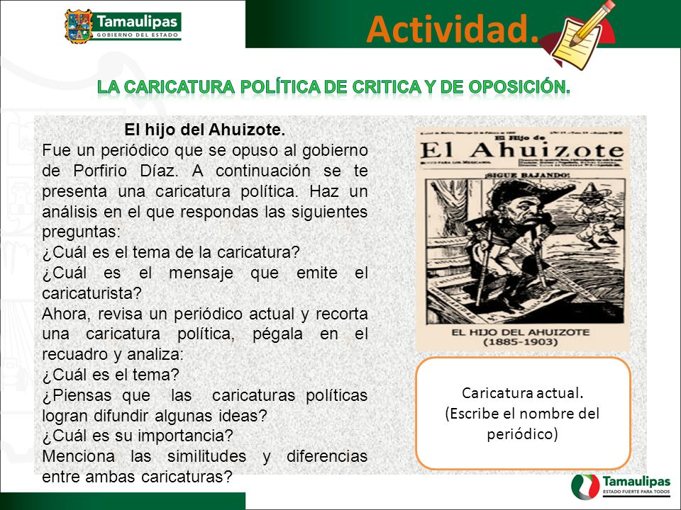 Actividad. El hijo del Ahuizote. Fue un periódico que se opuso al gobierno de Porfirio Díaz. A continuación se te presenta una caricatura política. Ha