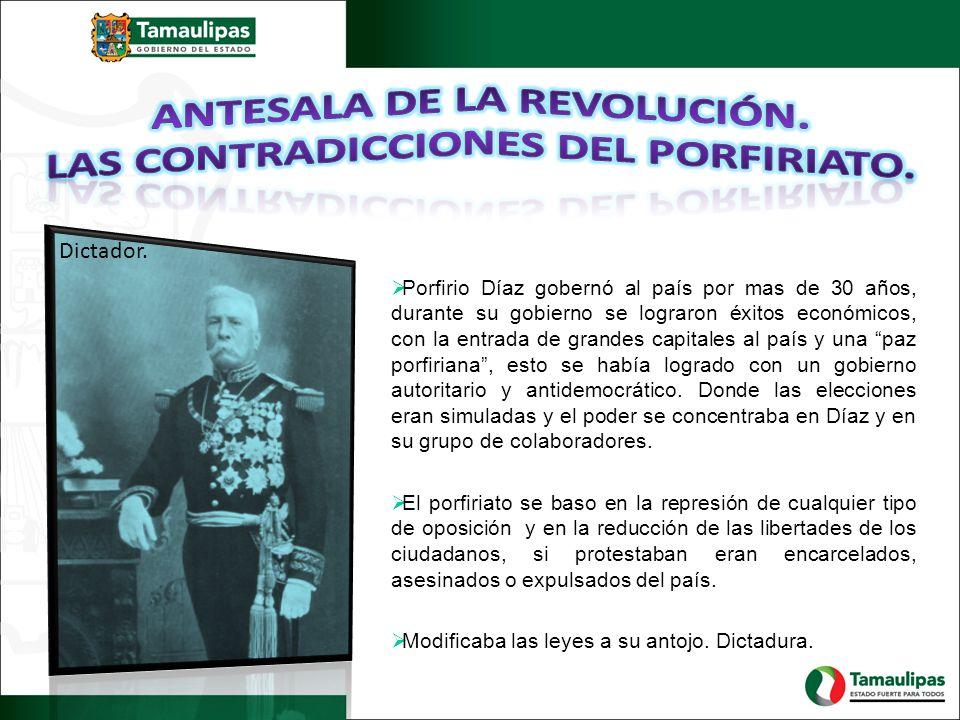 Porfirio Díaz gobernó al país por mas de 30 años, durante su gobierno se lograron éxitos económicos, con la entrada de grandes capitales al país y una paz porfiriana, esto se había logrado con un gobierno autoritario y antidemocrático.