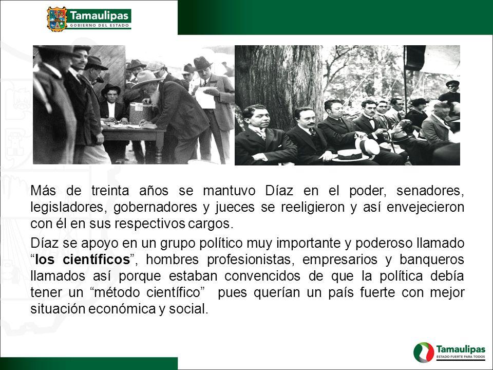 Más de treinta años se mantuvo Díaz en el poder, senadores, legisladores, gobernadores y jueces se reeligieron y así envejecieron con él en sus respec
