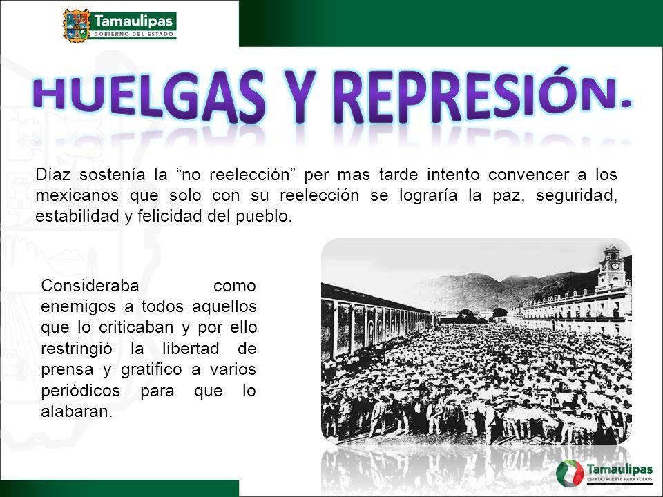 Díaz sostenía la no reelección per mas tarde intento convencer a los mexicanos que solo con su reelección se lograría la paz, seguridad, estabilidad y