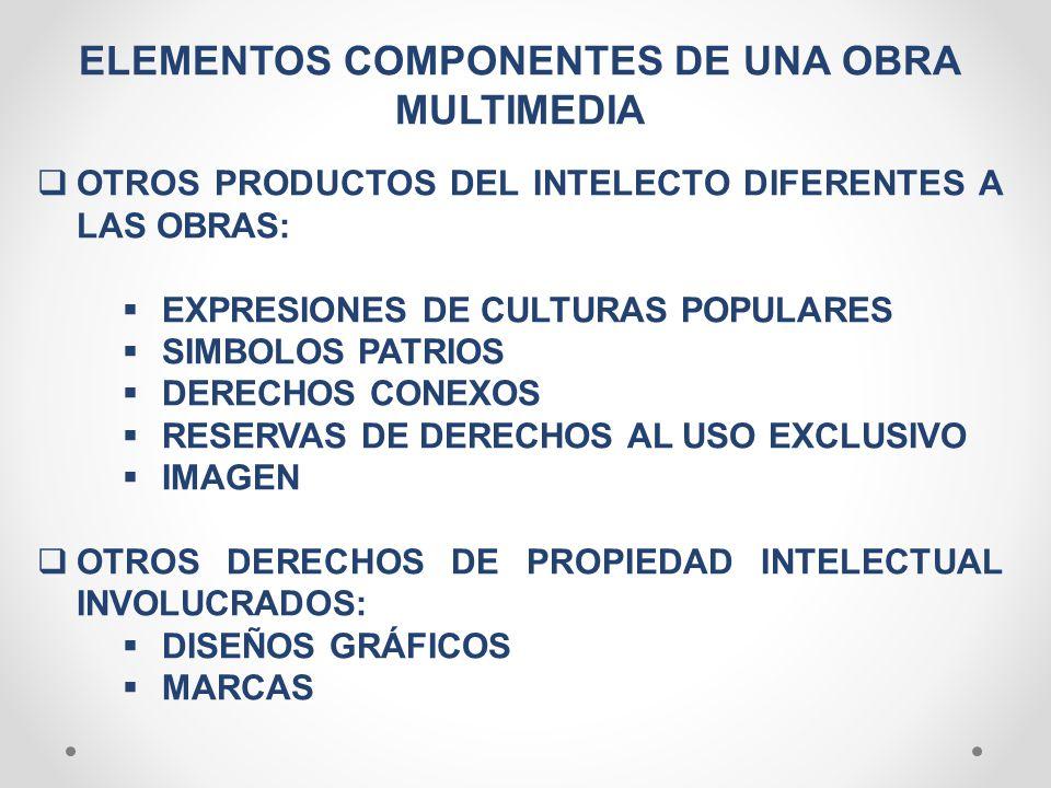 ELEMENTOS COMPONENTES DE UNA OBRA MULTIMEDIA OTROS PRODUCTOS DEL INTELECTO DIFERENTES A LAS OBRAS: EXPRESIONES DE CULTURAS POPULARES SIMBOLOS PATRIOS