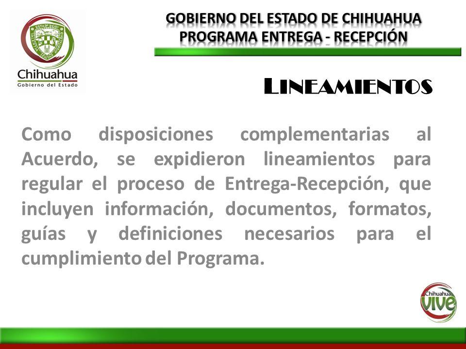 Como disposiciones complementarias al Acuerdo, se expidieron lineamientos para regular el proceso de Entrega-Recepción, que incluyen información, docu