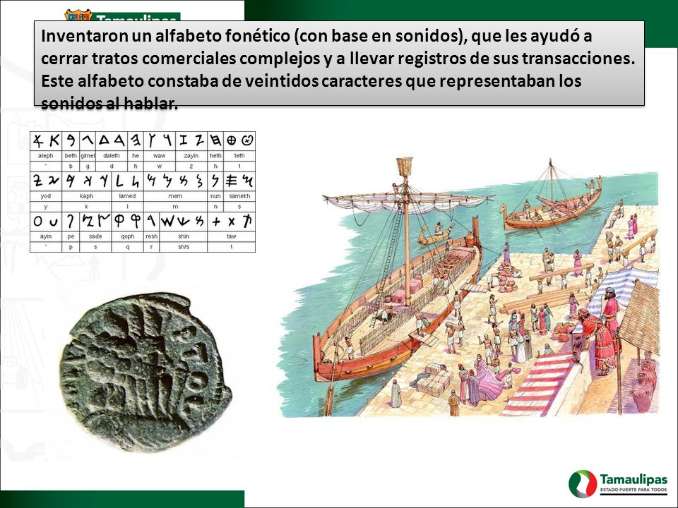 Inventaron un alfabeto fonético (con base en sonidos), que les ayudó a cerrar tratos comerciales complejos y a llevar registros de sus transacciones.