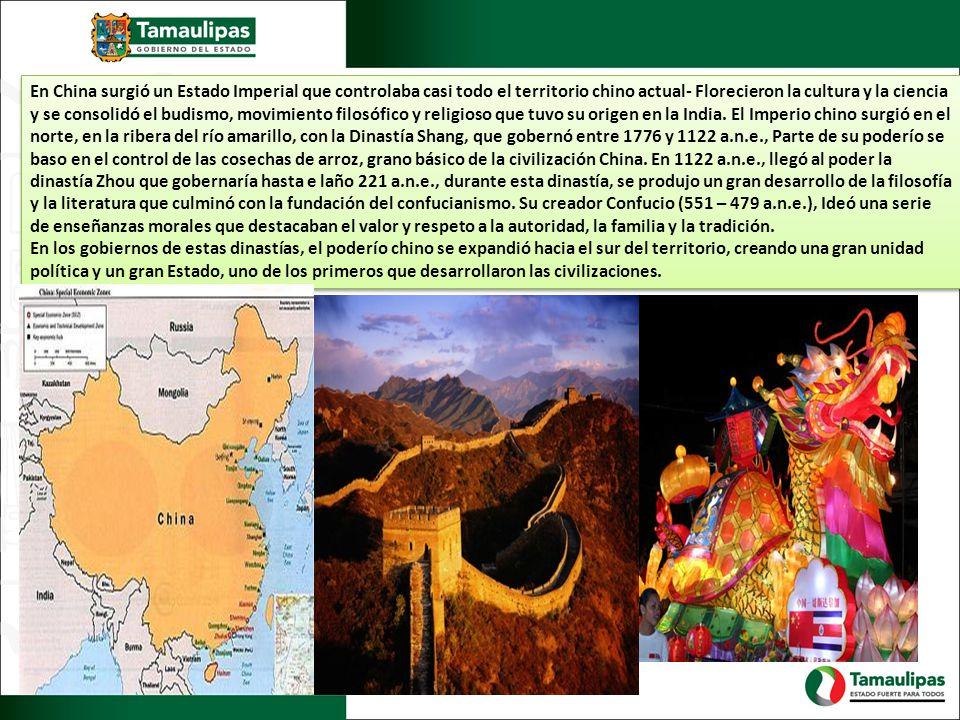 En China surgió un Estado Imperial que controlaba casi todo el territorio chino actual- Florecieron la cultura y la ciencia y se consolidó el budismo, movimiento filosófico y religioso que tuvo su origen en la India.