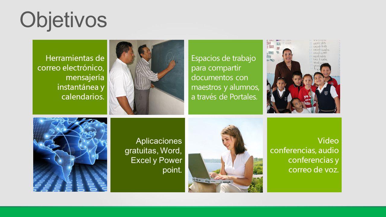 Herramientas de correo electrónico, mensajería instantánea y calendarios. Video conferencias, audio conferencias y correo de voz.