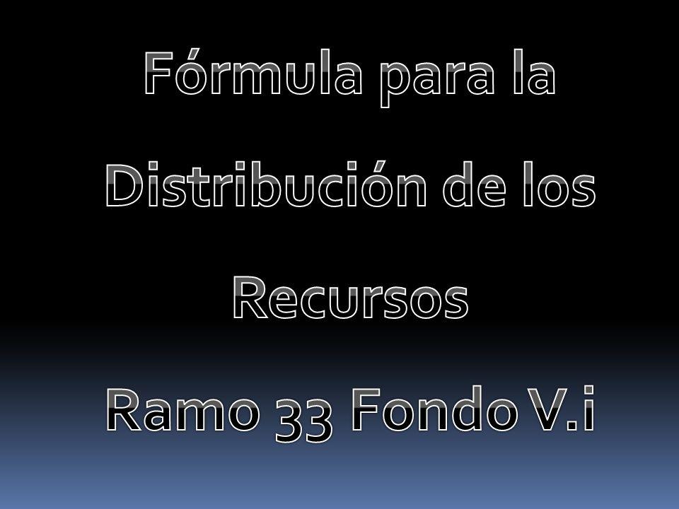 Fórmula de Distribución de Recursos del Ramo 33 Fondo V.i FDR= (p1) Presupuesto Histórico + (p2) IVS + (p3) Índice de Desempeño 2011 2012 18% 15% 81% 84% 1% El Fondo de Ramo 33 Fondo V.i se distribuye conforme a la Fórmula de Distribución de Recursos (FDR), la cual ha cumplido con los acuerdos nacionales de 2002: Incremento anual del ponderador del IVS y decremento del ponderador del presupuesto histórico.