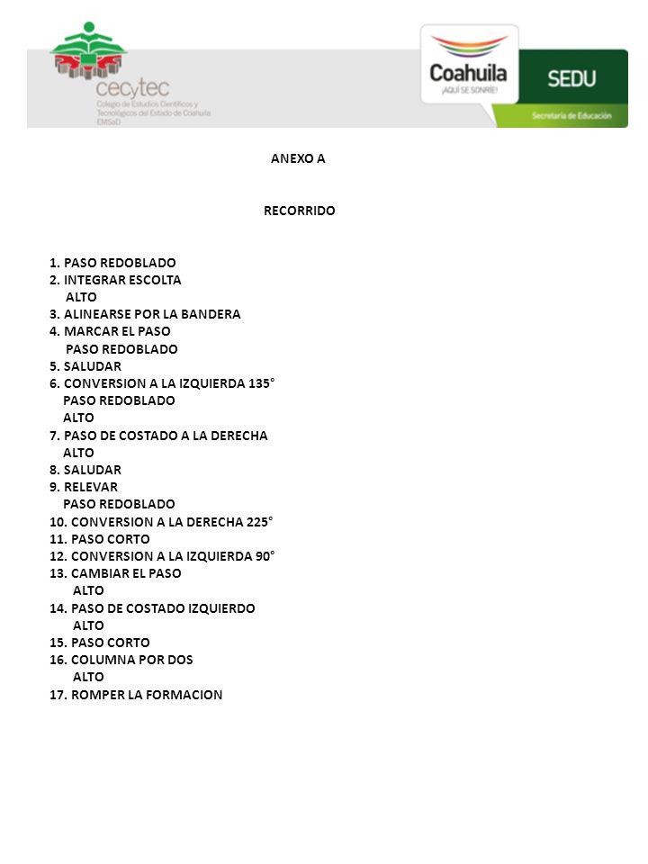 ANEXO A RECORRIDO 1. PASO REDOBLADO 2. INTEGRAR ESCOLTA ALTO 3. ALINEARSE POR LA BANDERA 4. MARCAR EL PASO PASO REDOBLADO 5. SALUDAR 6. CONVERSION A L