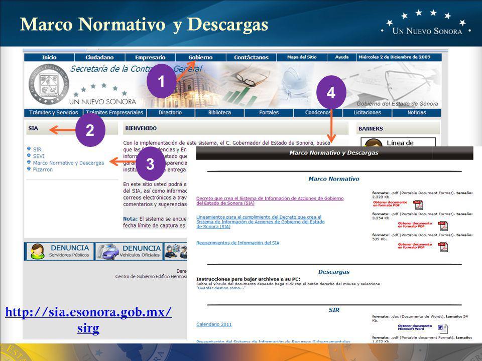 3 1 2 4 Marco Normativo y Descargas http://sia.esonora.gob.mx/ sirg