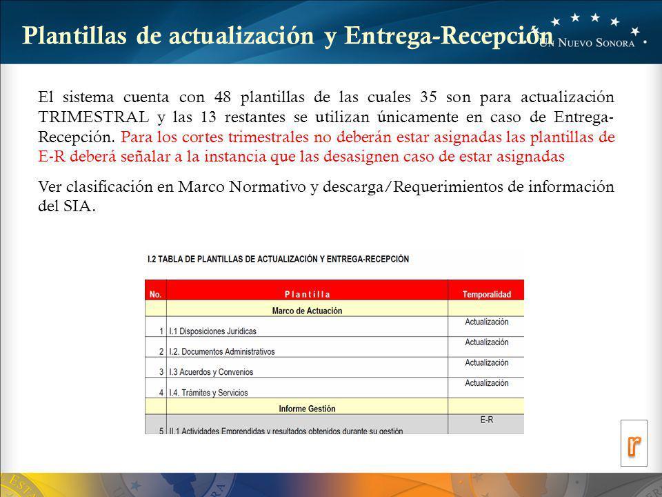 Plantillas de actualización y Entrega-Recepción El sistema cuenta con 48 plantillas de las cuales 35 son para actualización TRIMESTRAL y las 13 restantes se utilizan únicamente en caso de Entrega- Recepción.